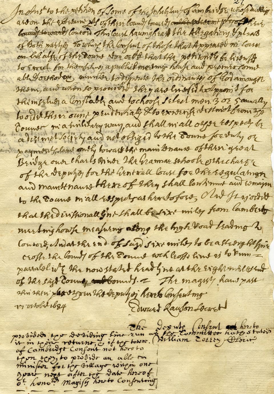 General Court's First Response, 1684