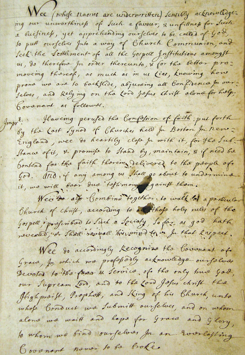 1696 Parish Covenant, page 1 (courtesy of the Lexington Historical Society)