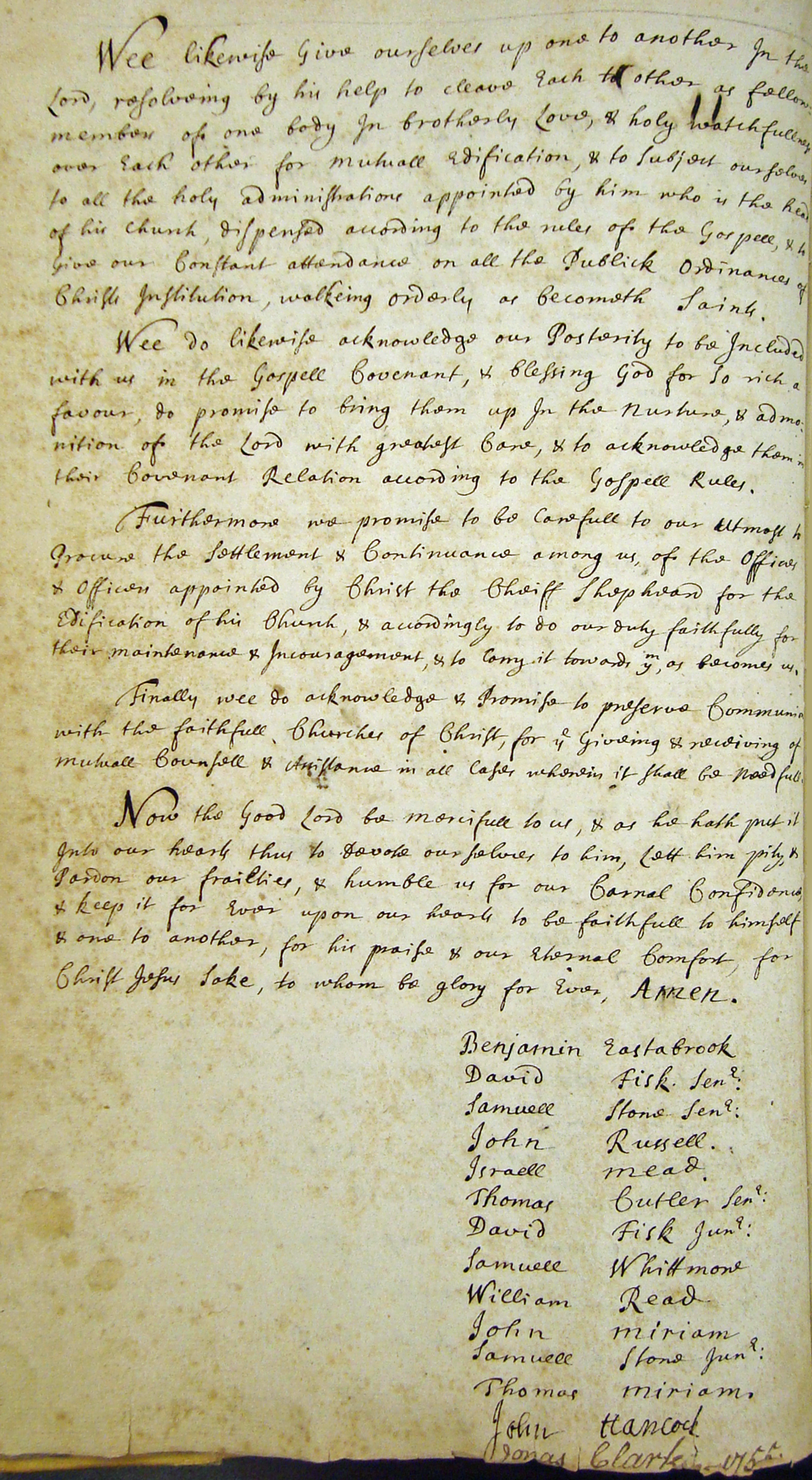 1696 Parish Covenant, page 2 (courtesy of the Lexington Historical Society)