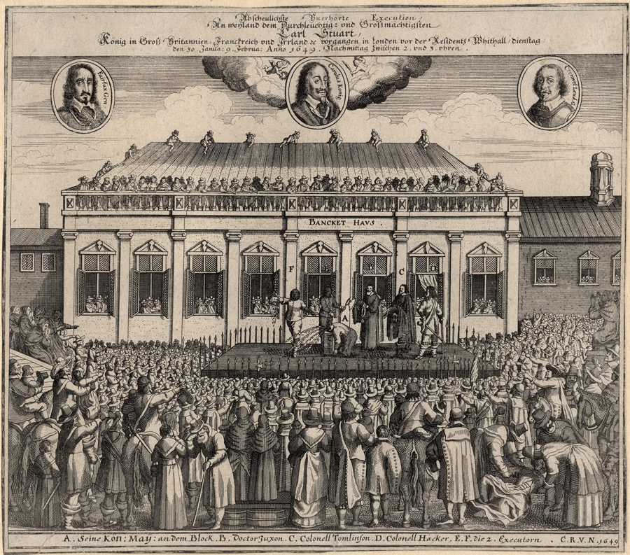 Contemporary German print of Charles' execution