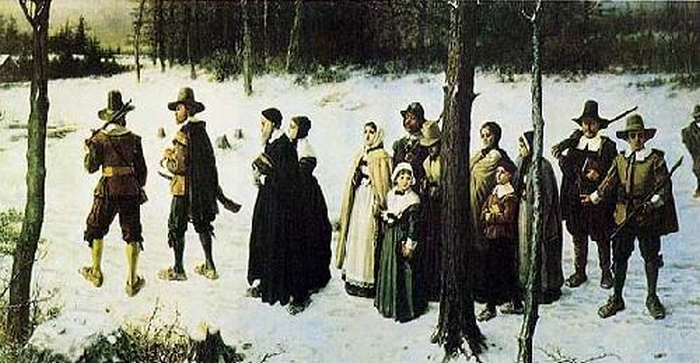Puritans or Pilgrims on the way to church