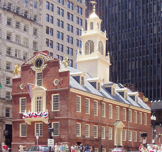 The Old State House, built 1713, in its present-day setting